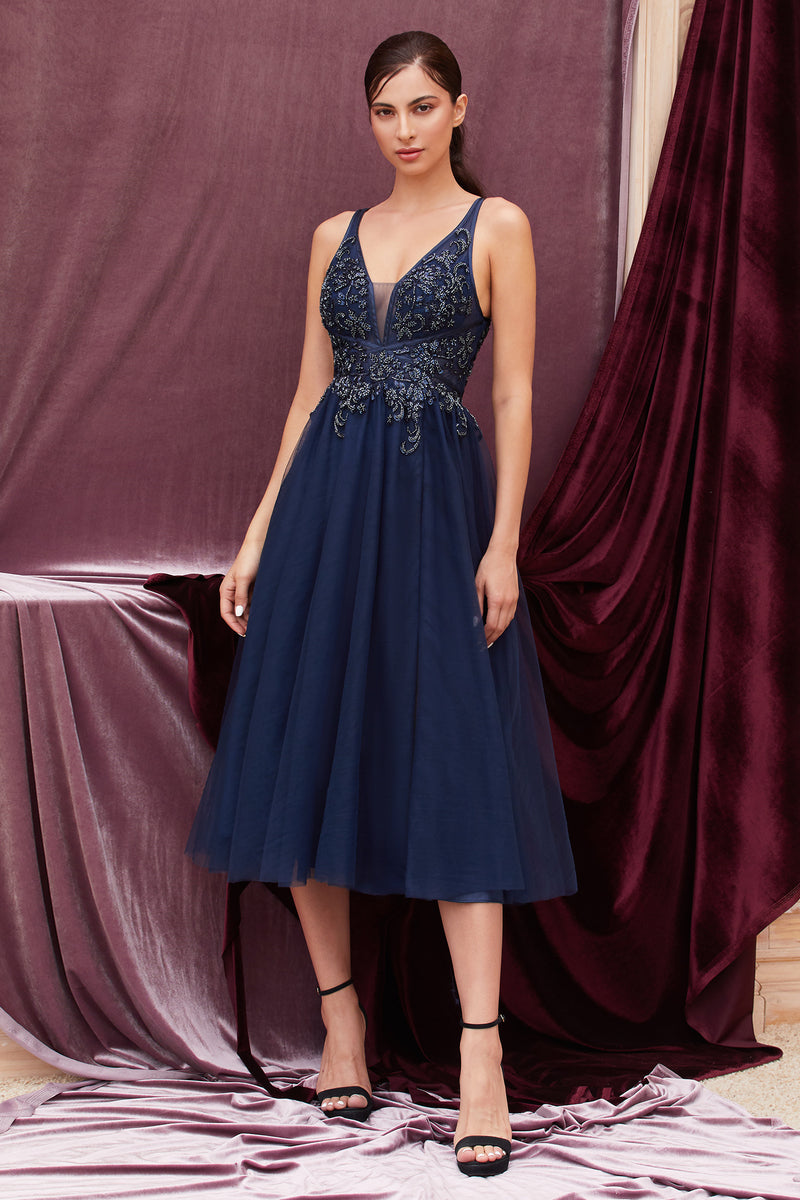 JESSICIA NAVY BLUE KNEE LENGTH BRIDESMAID DRESS - KC Haute Couture Wedding Dress