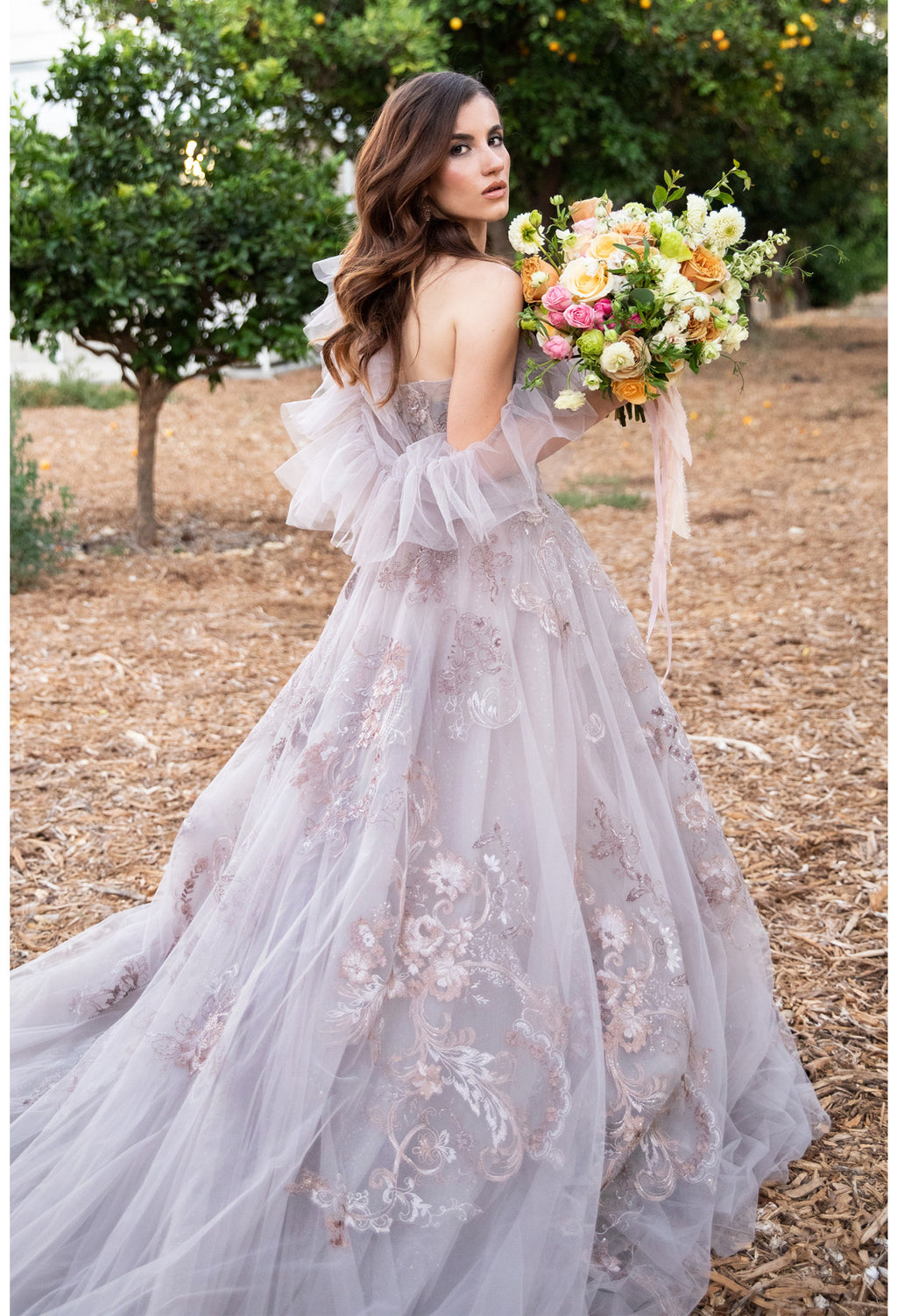 PENELOPE GOWN EMBROIDERED LACE BALL GOWN WITH DETACHABLE RUFFLE SHAWL - KC Haute Couture Wedding Dress
