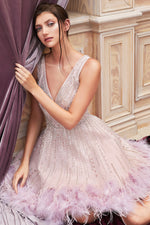 WREN KNEE LENGTH A LINE FEATHER DRESS - KC Haute Couture Wedding Dress