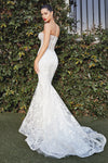 Fitted mermaid off white gown with glitter floral print and deep illusion v-neckline - KC Haute Couture Wedding Dress