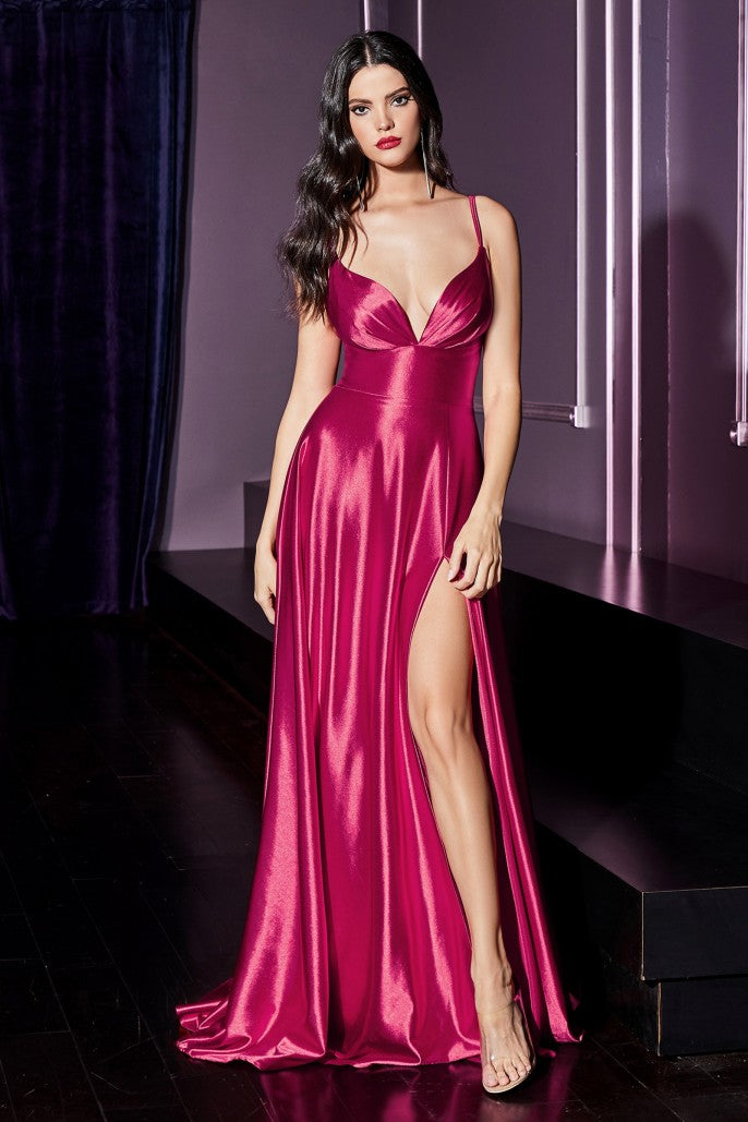 Satin a-line dress with pleated bodice and leg slit - Dark