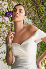 Olivia Off the shoulder jersey gown with gathered wasitline and sweetheart neckline - KC Haute Couture Wedding Dress