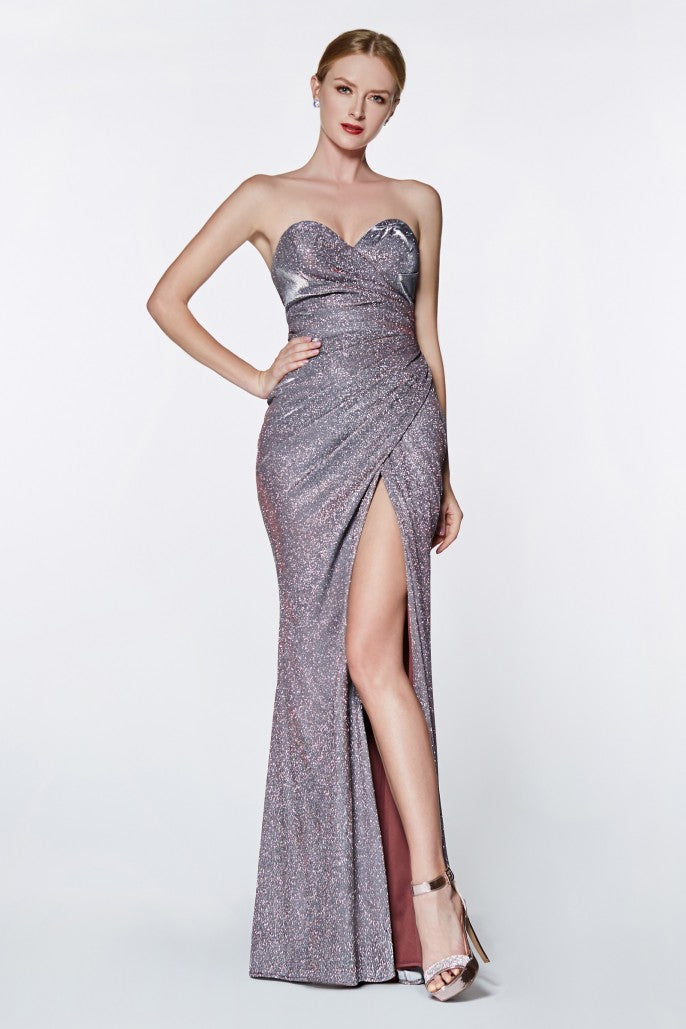Strapless glitter gown with sweetheart neckline and leg slit - KC Haute Couture Wedding Dress
