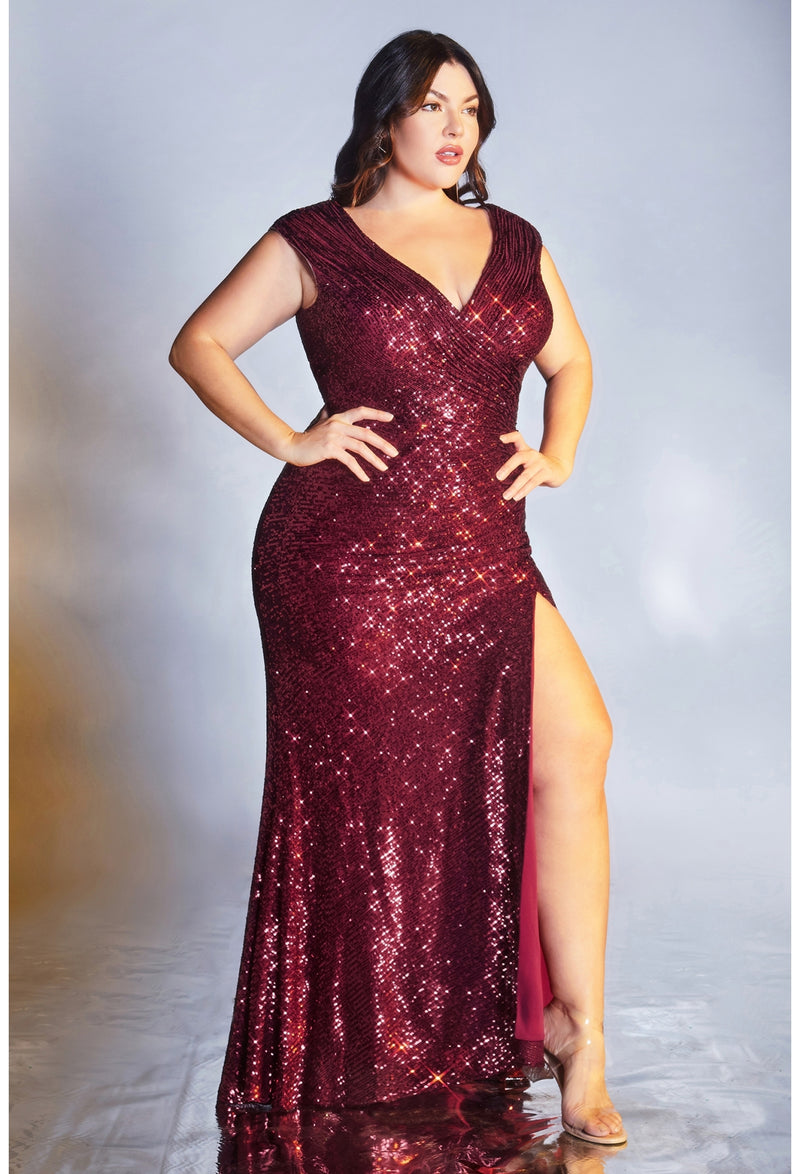 Curvy Fitted sequin evening gown with gathered waistline, weaved v-neckline, cap sleeves and leg slit