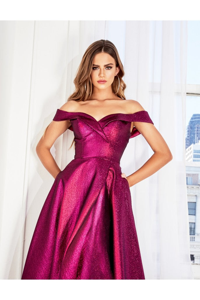 Off the shoulder metallic ball gown with sweetheart neckline and pockets - KC Haute Couture Wedding Dress