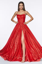 A-line metallic ball gown with lace up back and leg slit - KC Haute Couture Wedding Dress