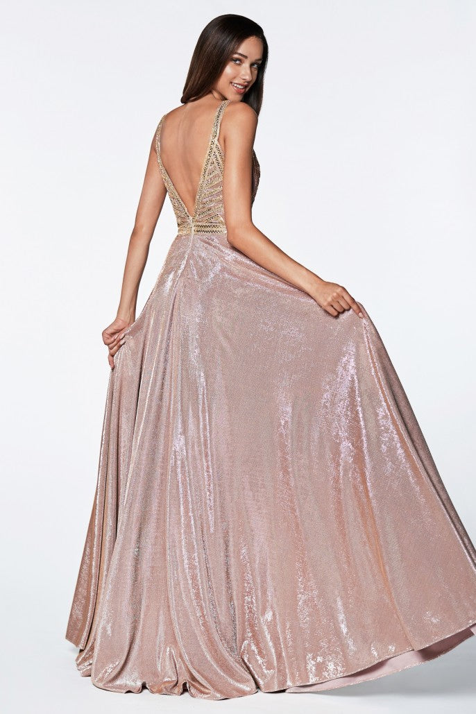 A-line glitter gown with beaded top and metallic fabric - KC Haute Couture Wedding Dress