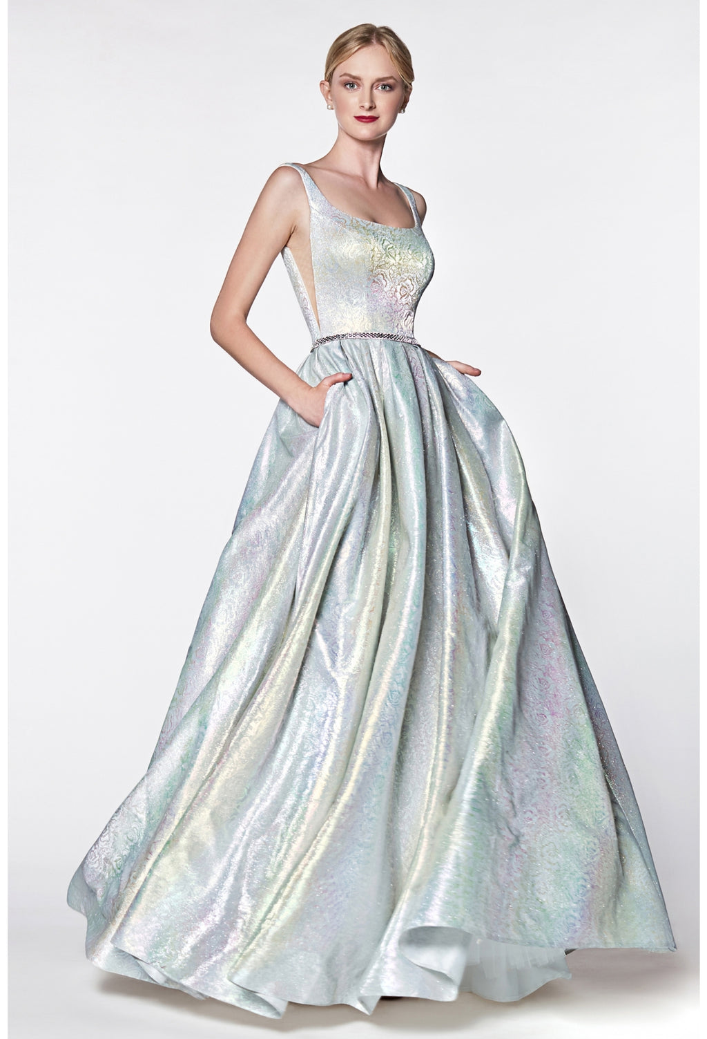 Metallic holograohic floral ball gown with illusion sides and pockets - KC Haute Couture Wedding Dress