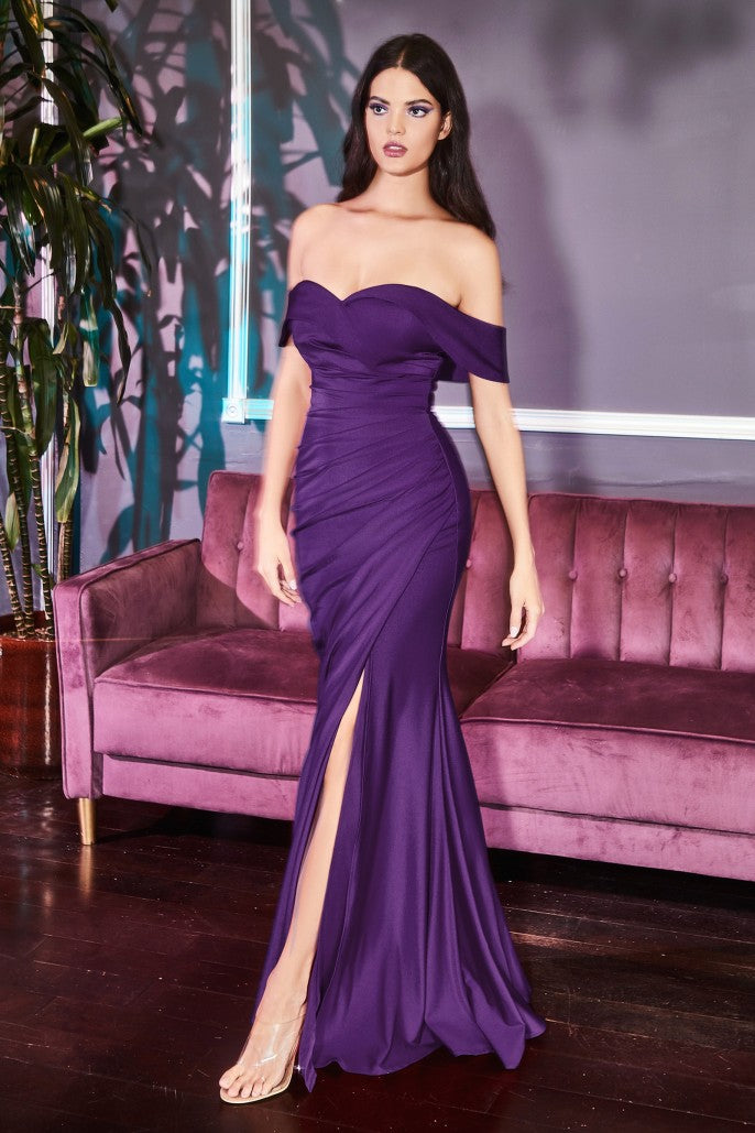 Off the shoulder fitted jersey gown with leg slit and ruching - KC Haute Couture Wedding Dress