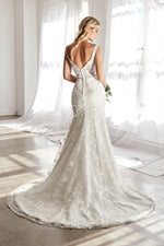 Nelli Fitted bridal gown with 3D floral appliques and corset structured bodice - KC Haute Couture Wedding Dress