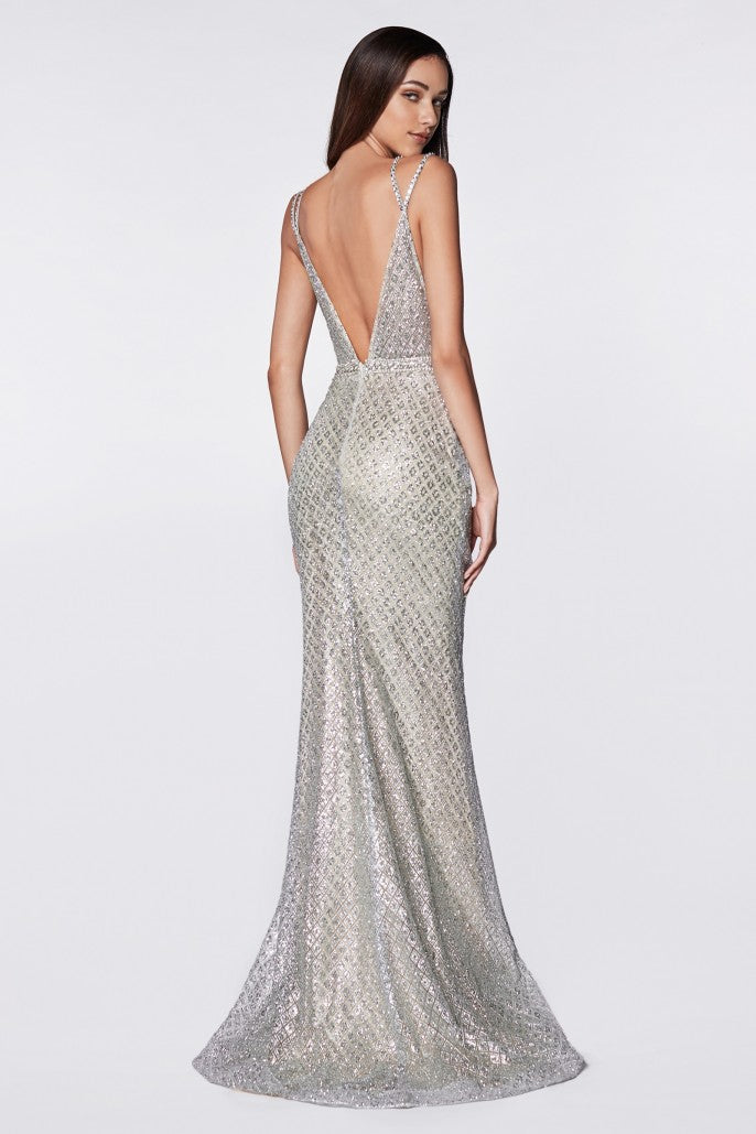 Fitted glitter gown with deep plunging neckline and open back - KC Haute Couture Wedding Dress