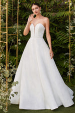 Athena ball gown with diamond fabric & adjustable corset back - KC Haute Couture Wedding Dress