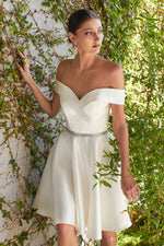 Macy Off the shoulder short a-line gown with satin finish and beaded belt - KC Haute Couture Wedding Dress