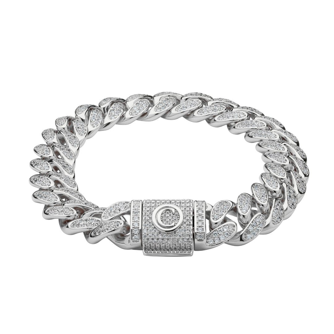 12mm Iced Cuban Link Bracelet - White Gold - IceTheGang