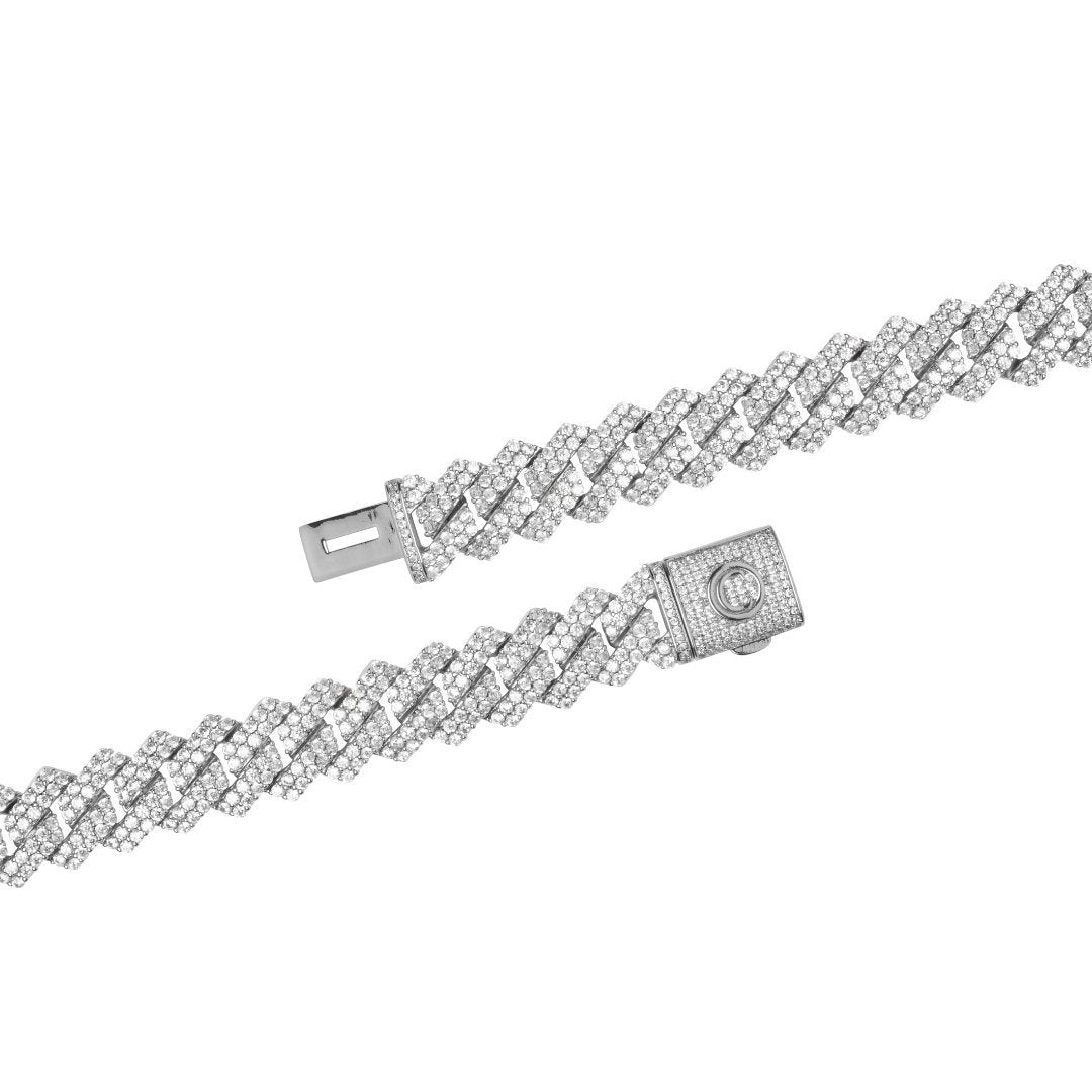 14mm Prong Link Chain + Bracelet Bundle - White Gold - IceTheGang