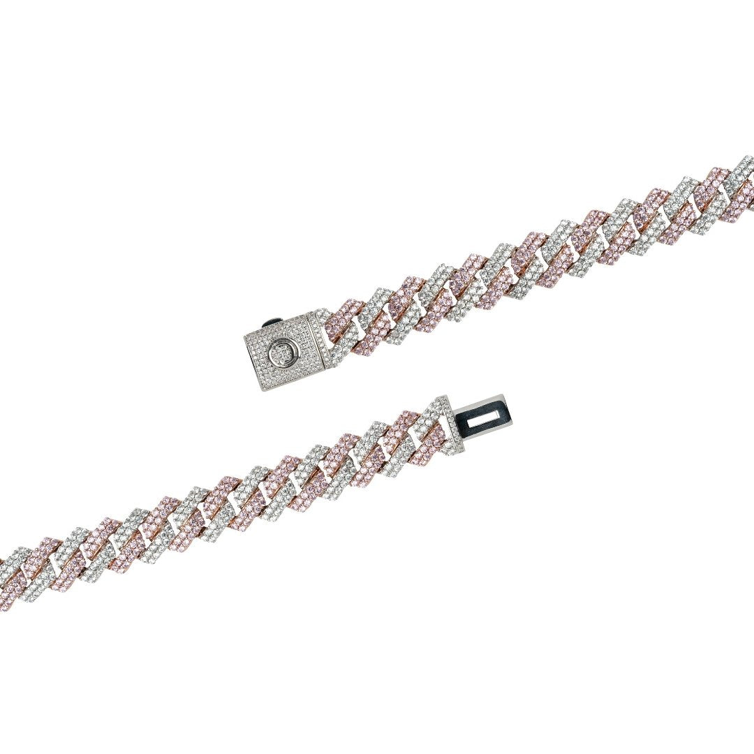 14mm Diamond Prong Link Bracelet - 2 Tone - IceTheGang