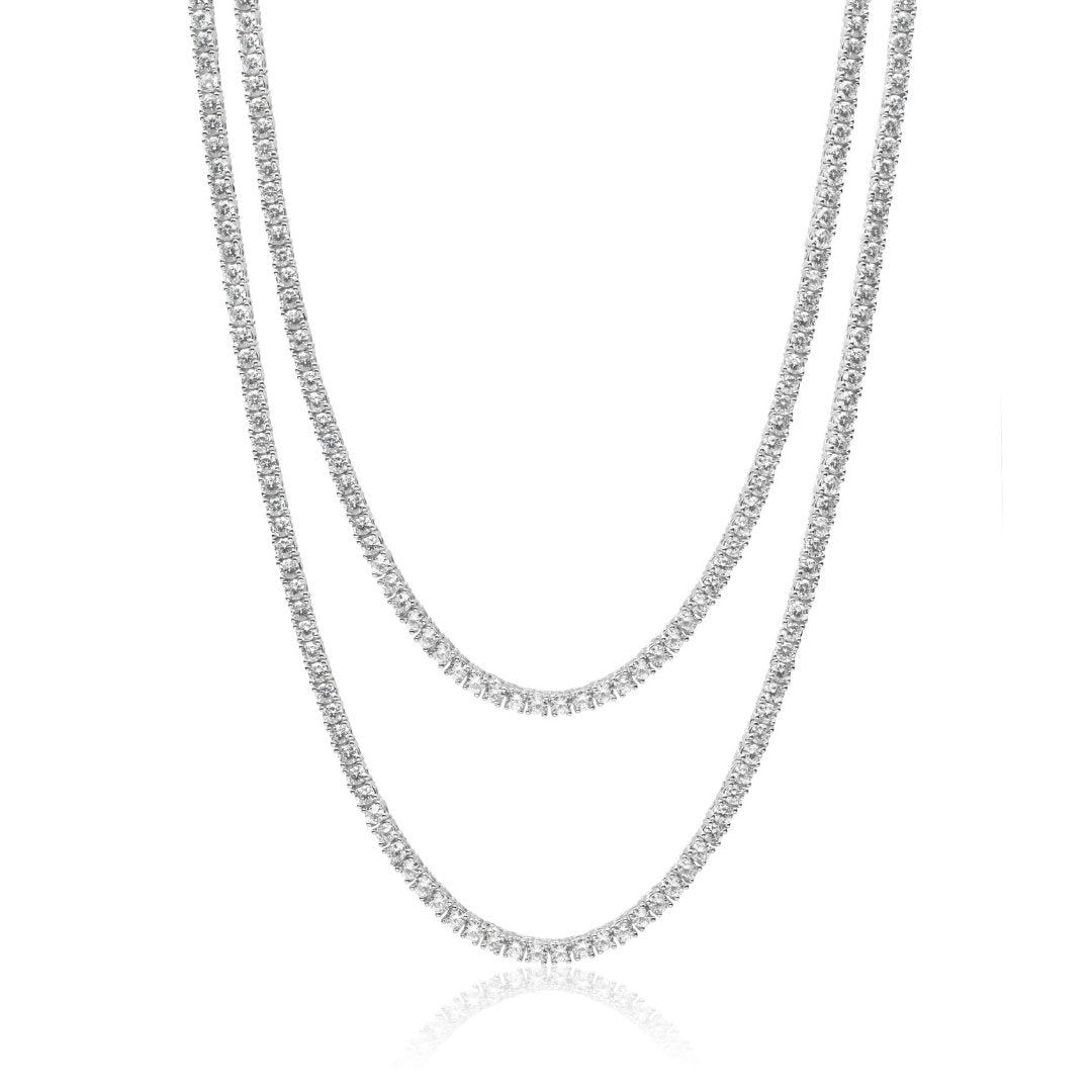 3mm Tennis Chain Bundle - White Gold - IceTheGang