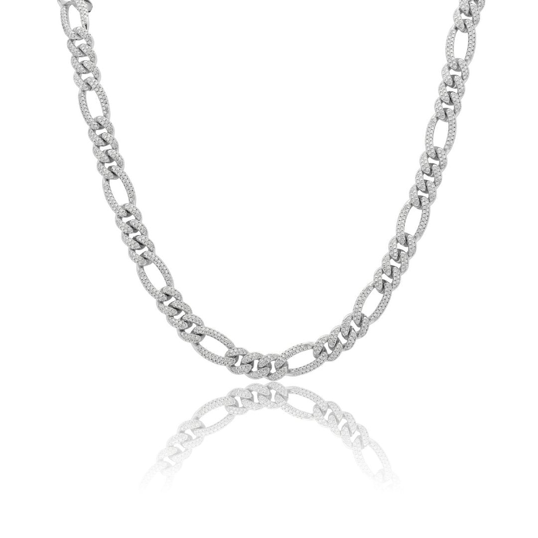 10mm Iced Figaro Chain - White Gold - IceTheGang