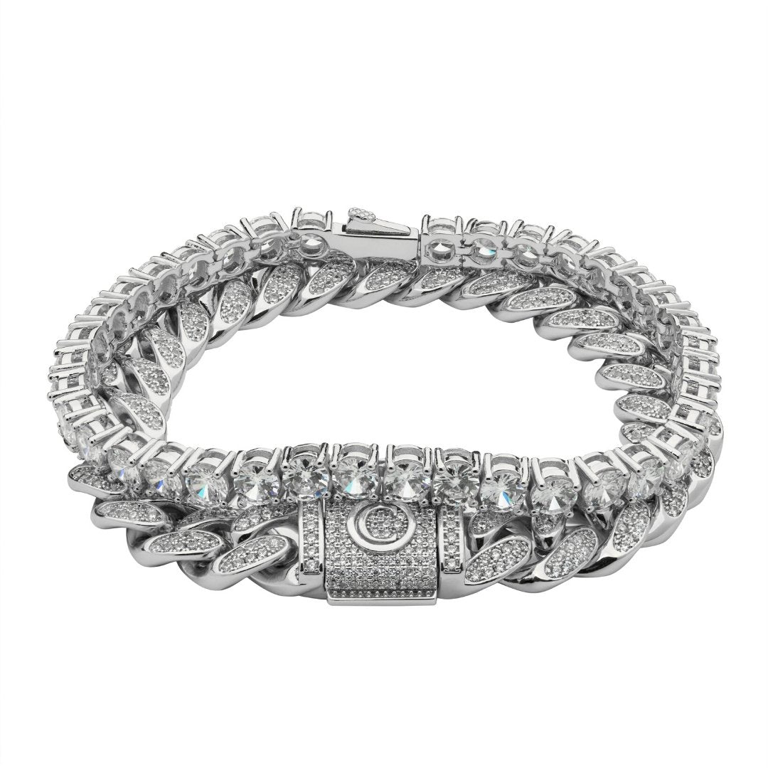 Cuban Link + Tennis Bracelet Bundle - White Gold - IceTheGang