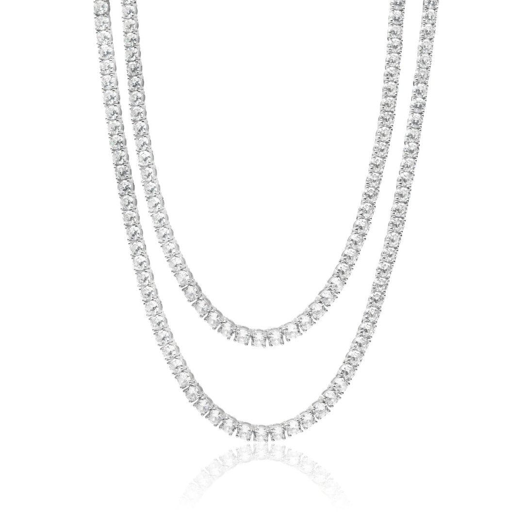 5mm Tennis Chain Bundle - White Gold - IceTheGang