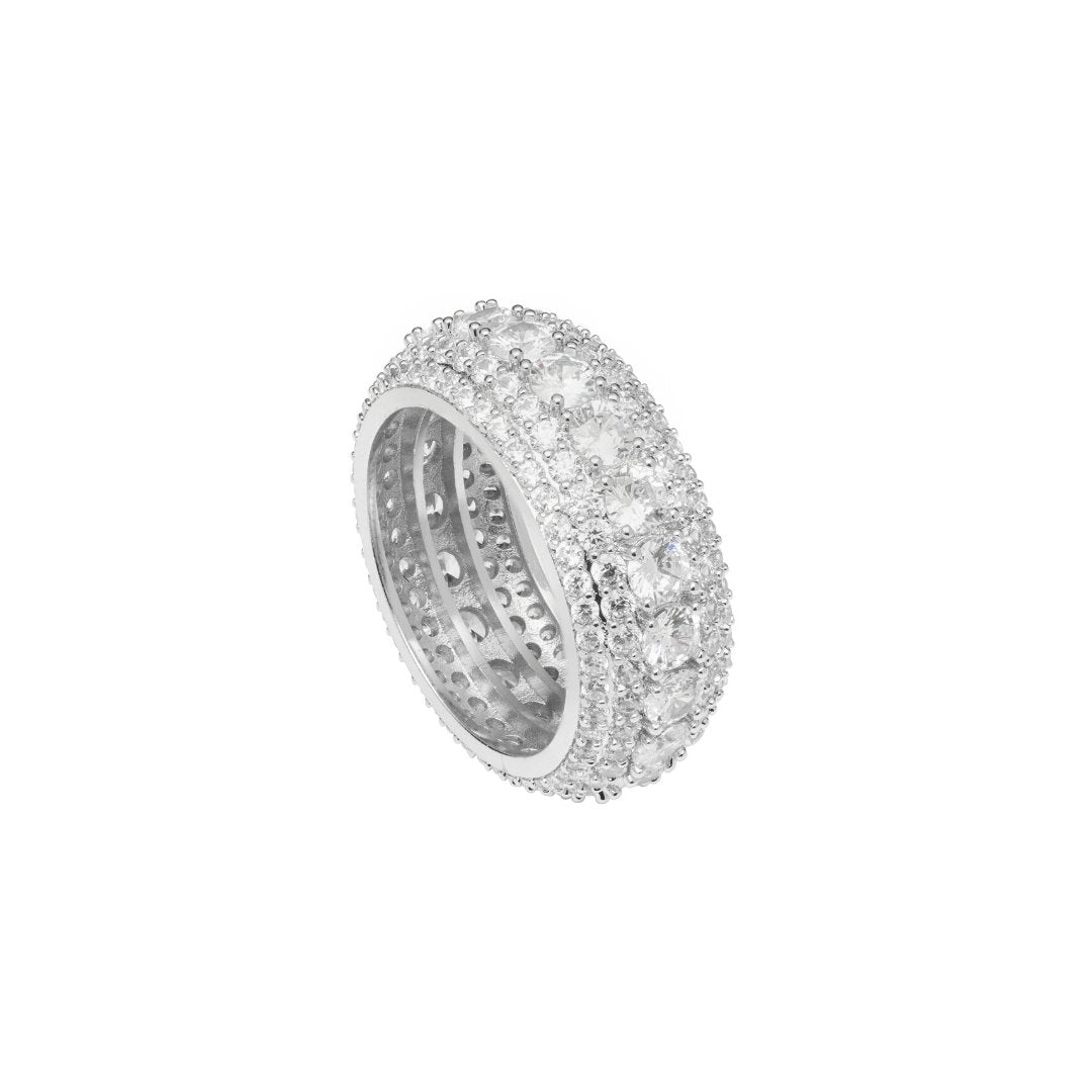 5 Row Diamond Ring - White Gold - IceTheGang