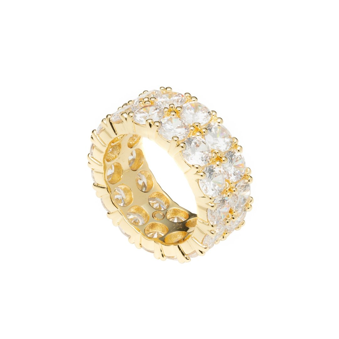 Double Row Diamond Ring - Gold - IceTheGang