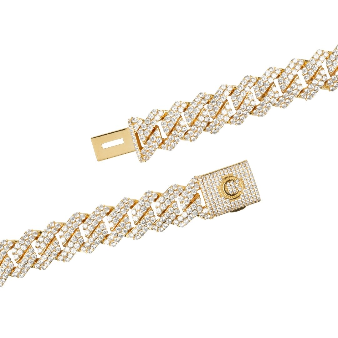 14mm Diamond Prong Link Bracelet - Gold - IceTheGang