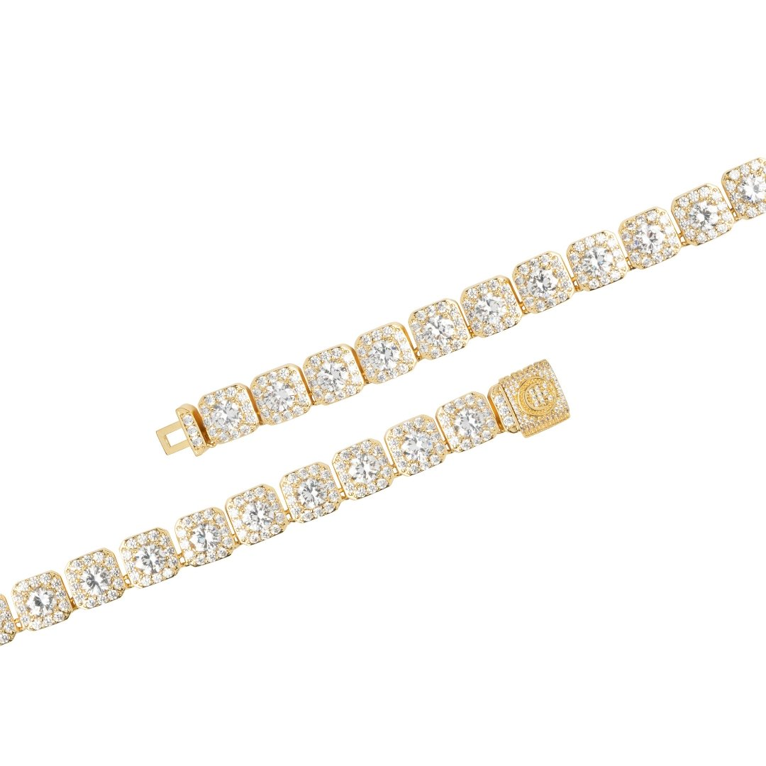 10mm Clustered Tennis Bracelet - Gold - IceTheGang