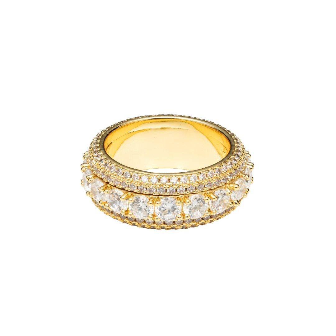 Spinning Layered Diamond Ring - Gold - IceTheGang