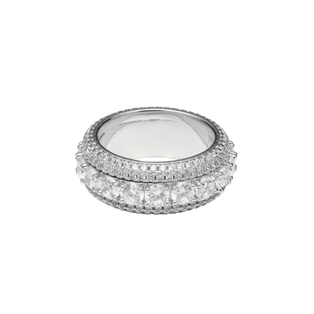 Spinning Layered Diamond Ring - White Gold - IceTheGang