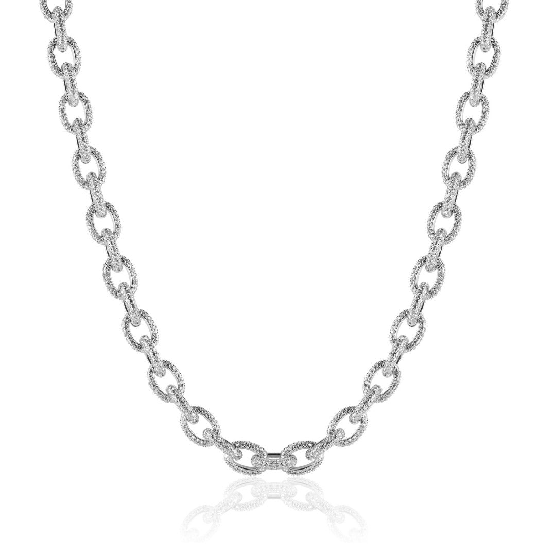 10mm Rolo Link Chain - White Gold - IceTheGang
