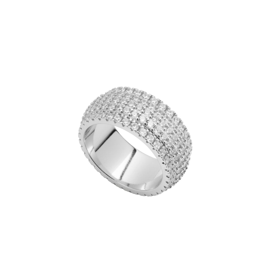 5 Row Band Ring - White Gold - IceTheGang