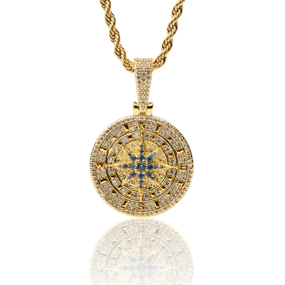 Iced Compass Pendant - Gold - IceTheGang
