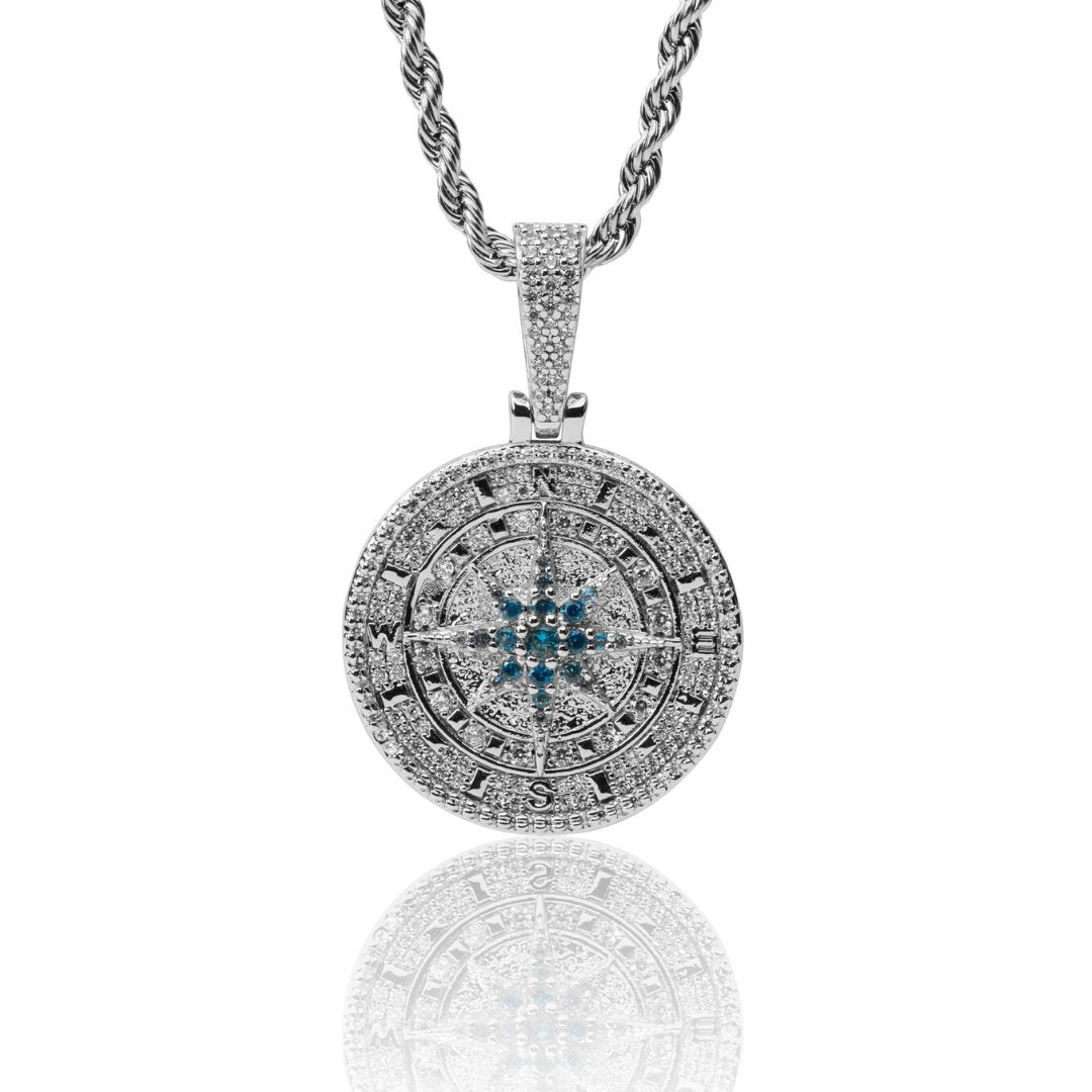 Iced Compass Pendant - White Gold - IceTheGang