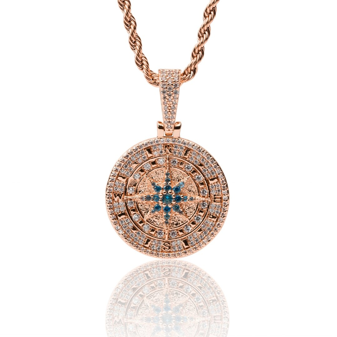 Iced Compass Pendant - Rose Gold - IceTheGang