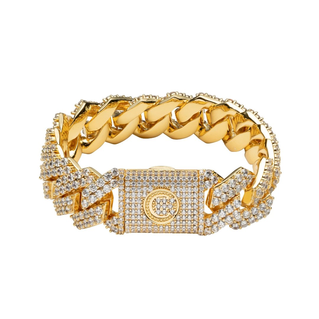 19mm Diamond Prong Link Bracelet - Gold - IceTheGang