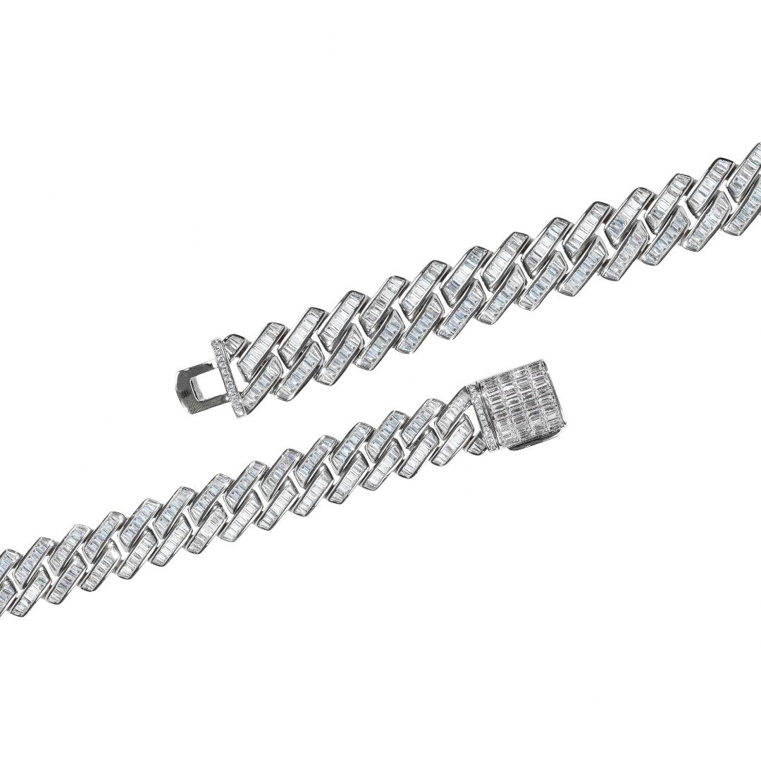 19mm Baguette Prong Link Chain - White Gold - IceTheGang