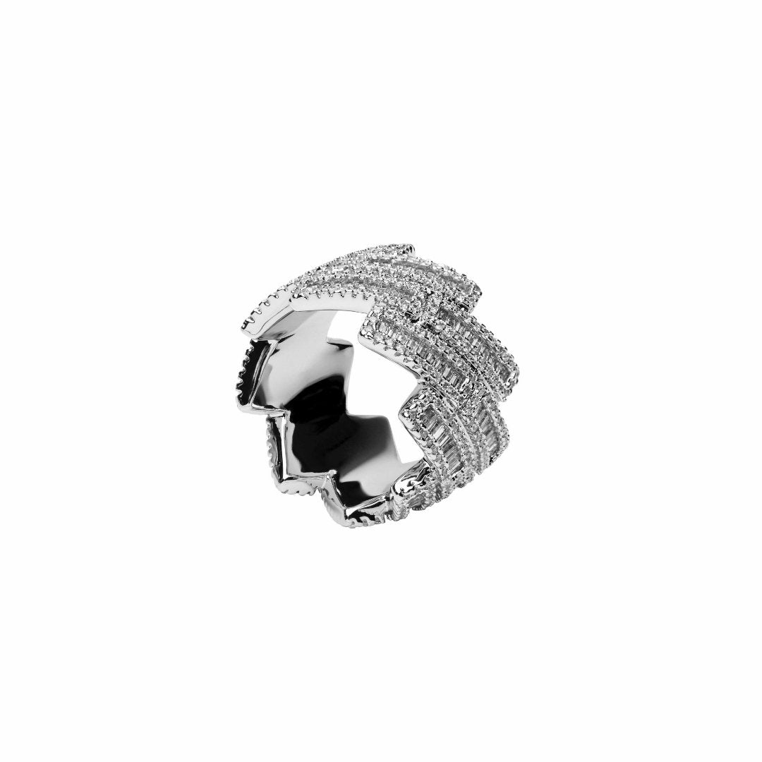 Baguette Prong Cuban Ring - White Gold - IceTheGang
