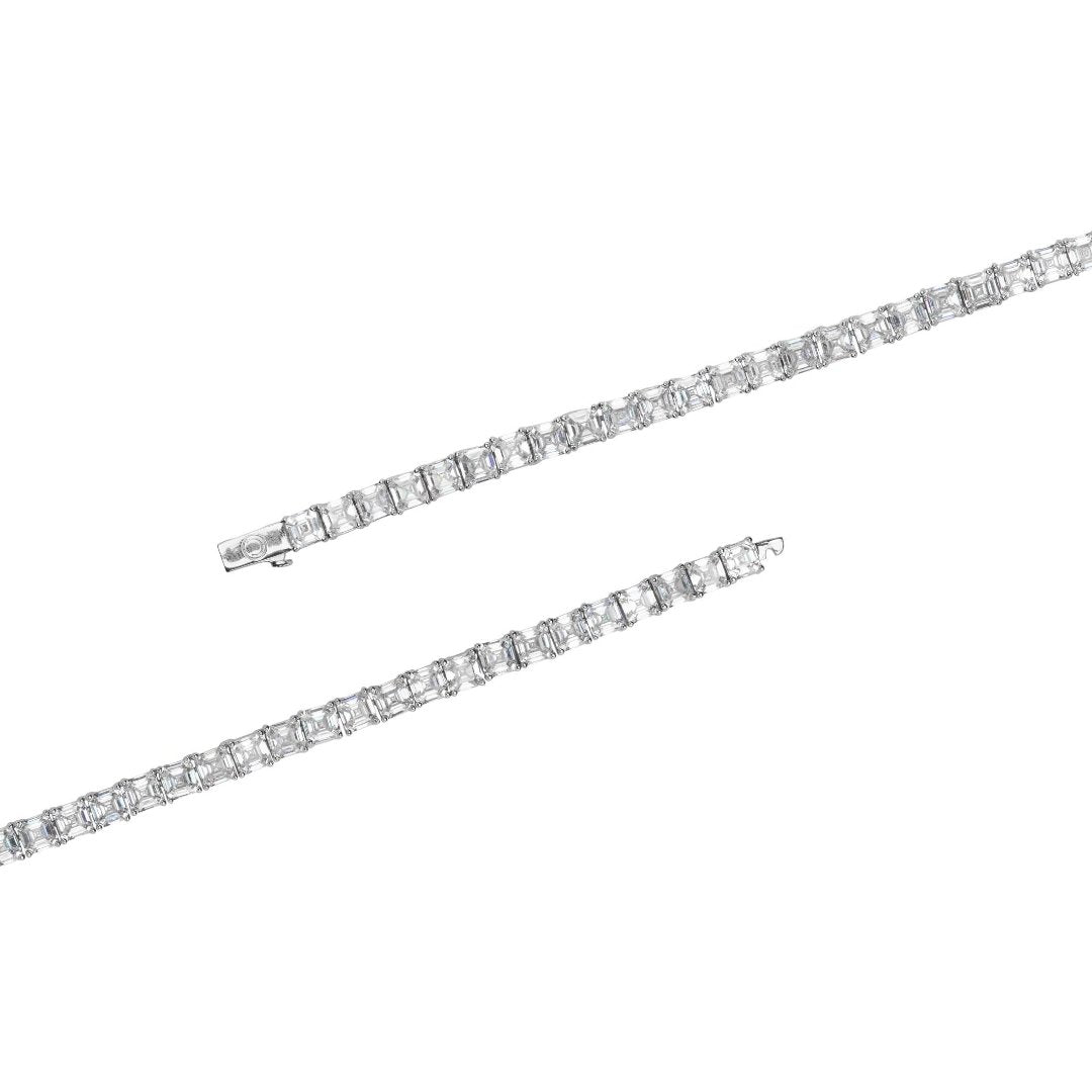 5mm Baguette Tennis Chain - White Gold - IceTheGang
