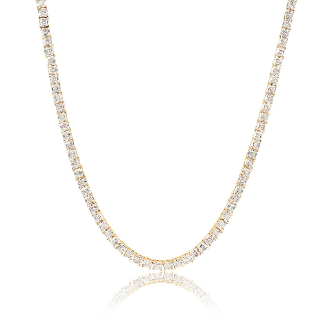 5mm Baguette Tennis Chain - Gold - IceTheGang