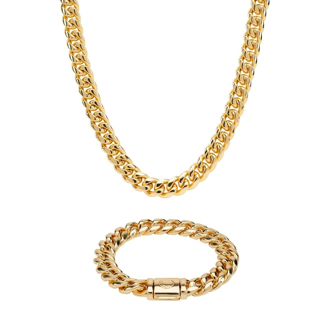 12mm Miami Cuban Chain + Bracelet Bundle - Gold - IceTheGang