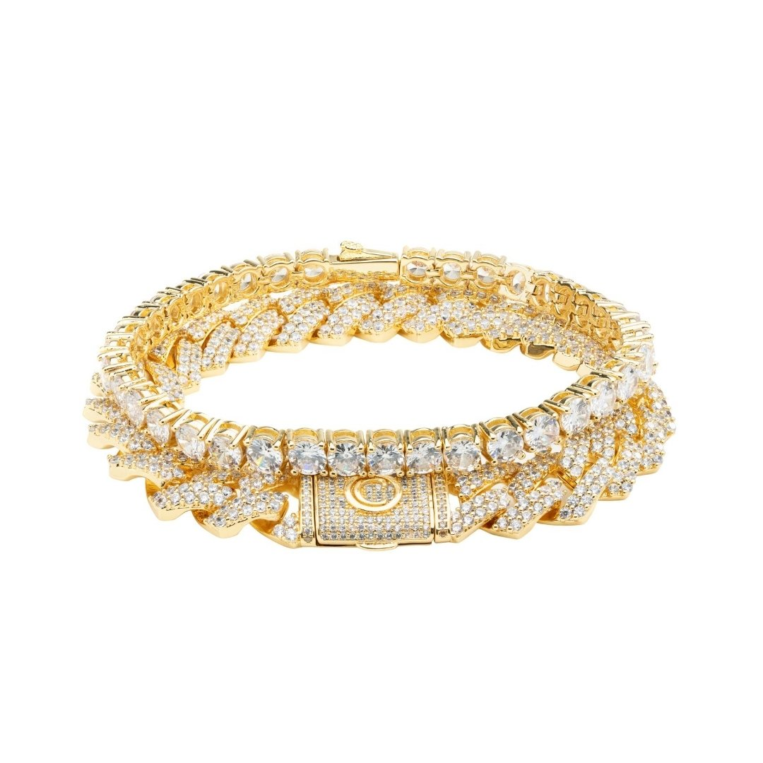 Prong Link + Tennis Bracelet Bundle - Gold - IceTheGang