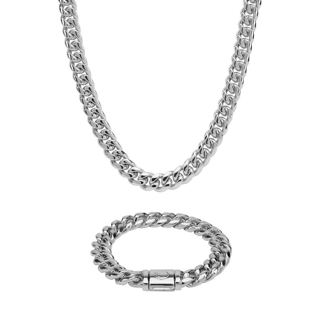 12mm Miami Cuban Chain + Bracelet Bundle - White Gold - IceTheGang
