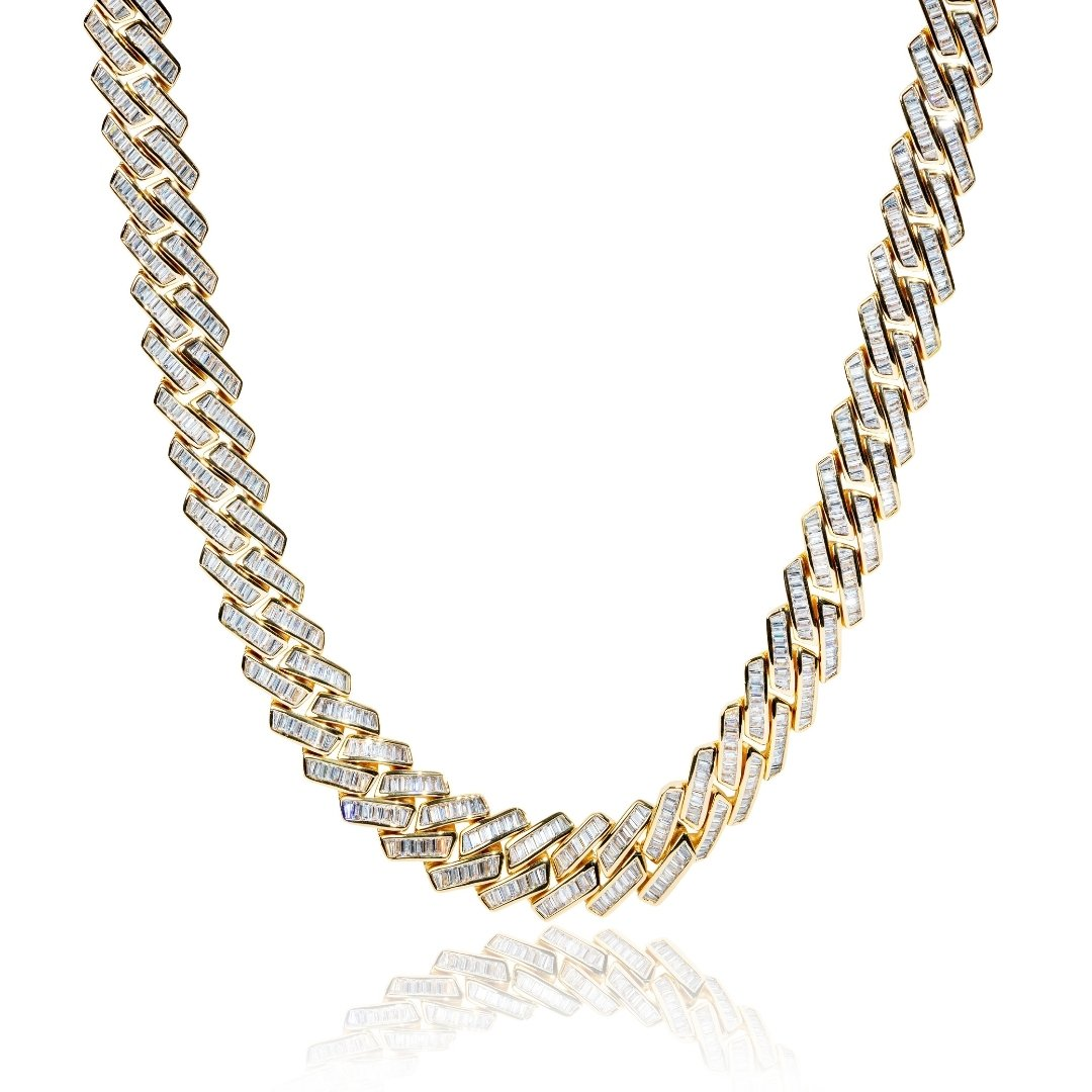 19mm Baguette Prong Link Chain - Gold - IceTheGang