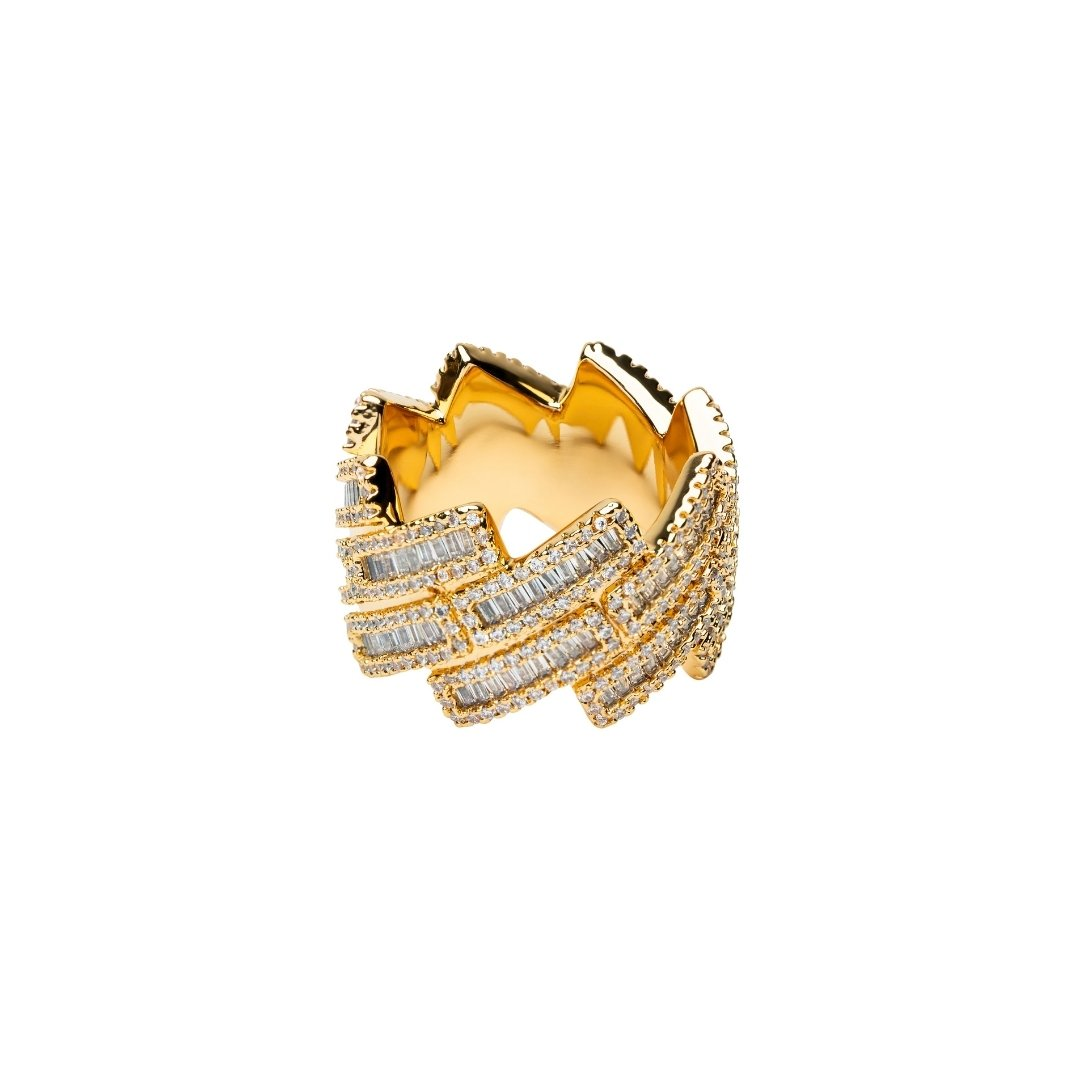 Baguette Prong Cuban Ring - Gold - IceTheGang
