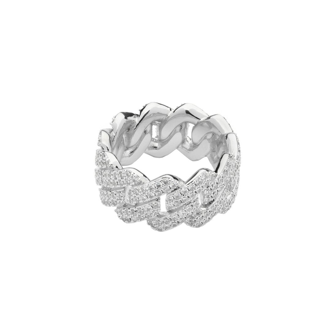 Prong Cuban Ring - White Gold - IceTheGang