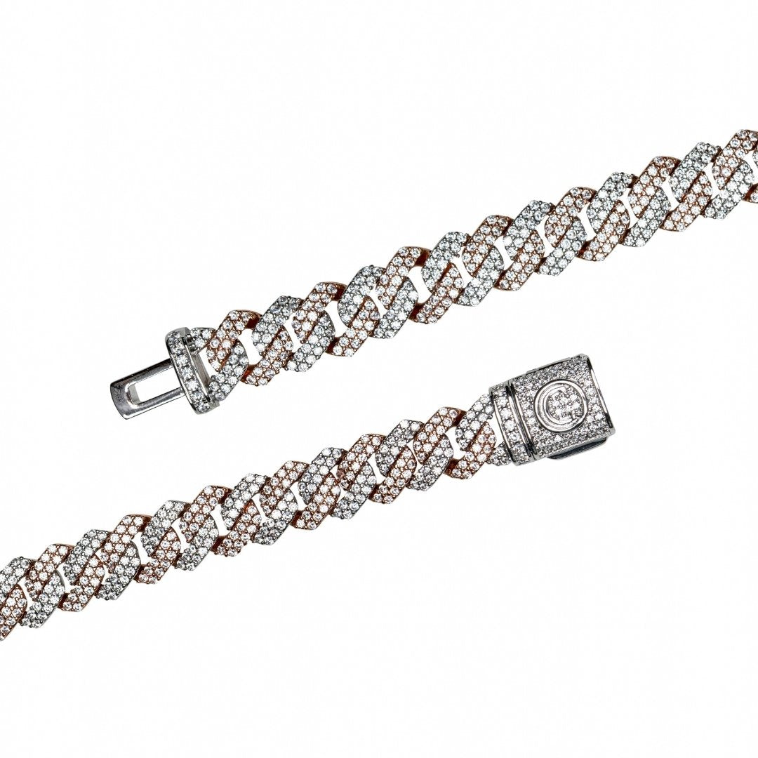 10mm Diamond Prong Link Chain - 2 Tone - IceTheGang