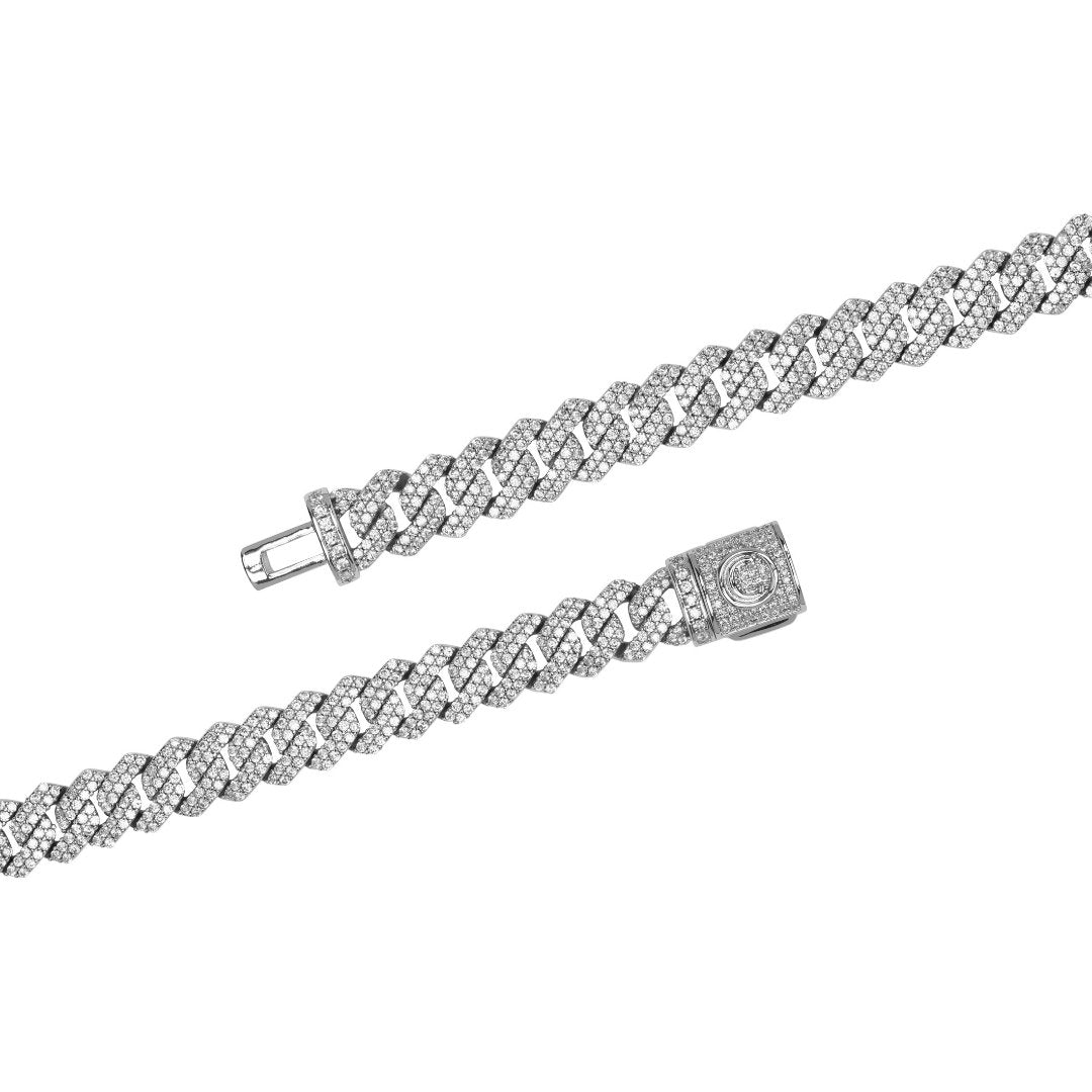 10mm Diamond Prong Link Bracelet - White Gold - IceTheGang