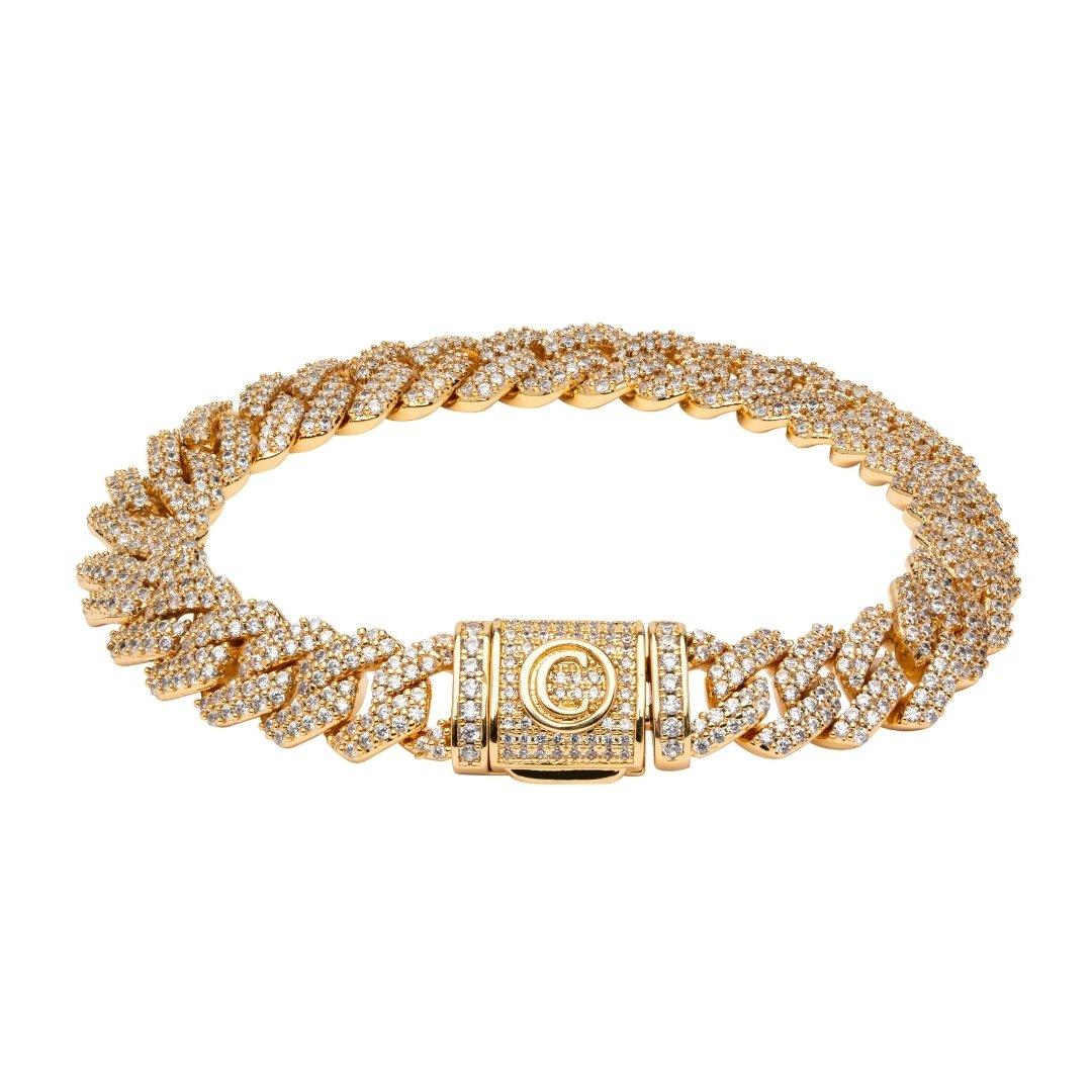 10mm Diamond Prong Link Bracelet - Gold - IceTheGang