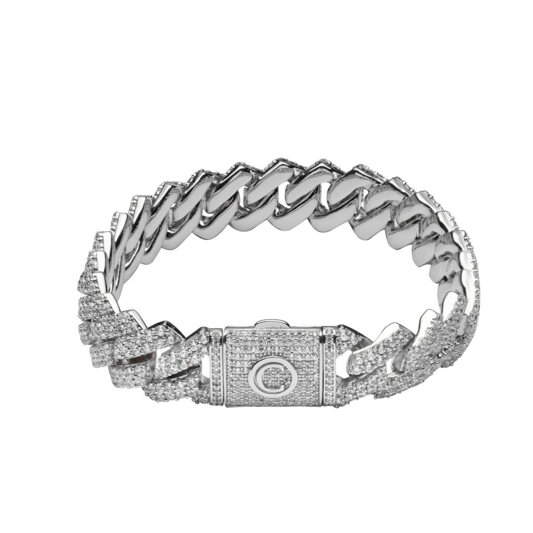 14mm Diamond Prong Link Bracelet - White Gold - IceTheGang